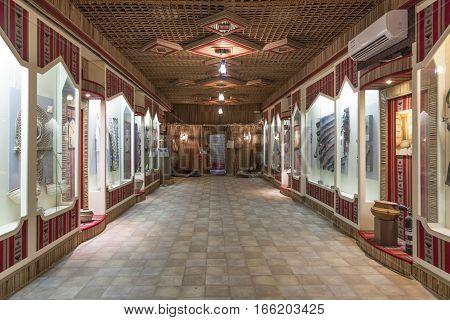 FUJAIRAH UAE - DEC 1 2016: Interior of the museum in Fujairah United Arab Emirates Middle East