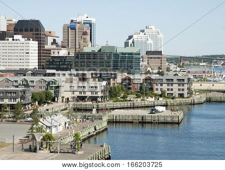 The view of Halifax city promenade with a downtown in a background (Nova Scotia Canada).