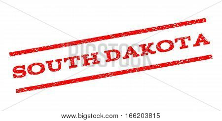 South Dakota watermark stamp. Text caption between parallel lines with grunge design style. Rubber seal stamp with unclean texture. Vector red color ink imprint on a white background.