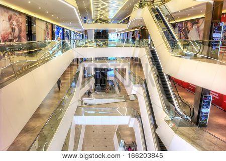 MINSK REPUBLIC OF BELARUS - January 18.2017 : Interior of modern municipal shopping center