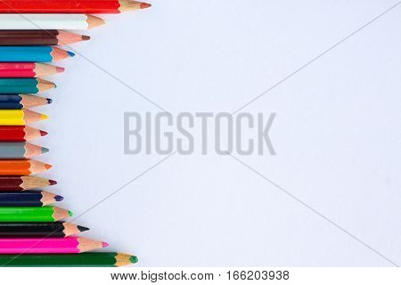 White Background For Presentations With Vertical Round Colorful Pencil Border