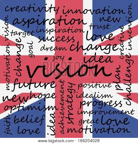 Conceptual Illustration of Tag Cloud With Words Related To Vision Creativity And Optimism UK Flag Background