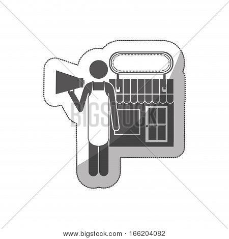 silhouette sticker shopkeeper with megaphone in store vector illustration