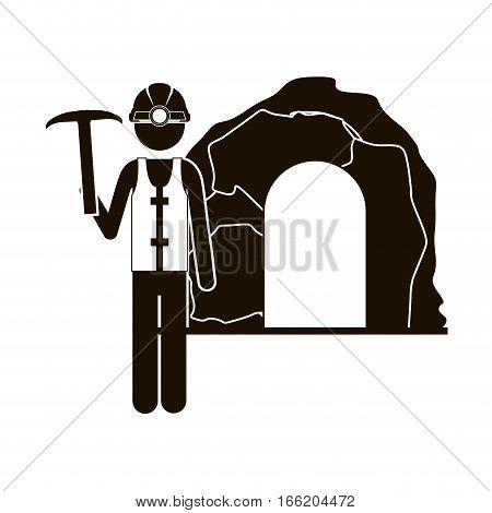 black silhouette miner with pickaxe vector illustration
