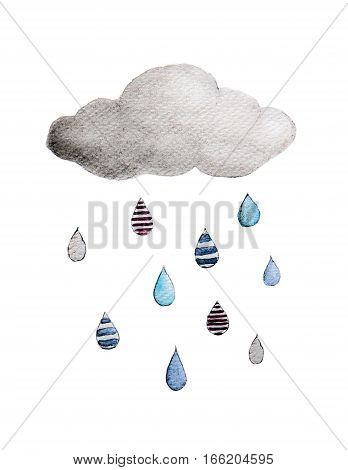 Hand drawn rainy cloud. - Watercolor painting