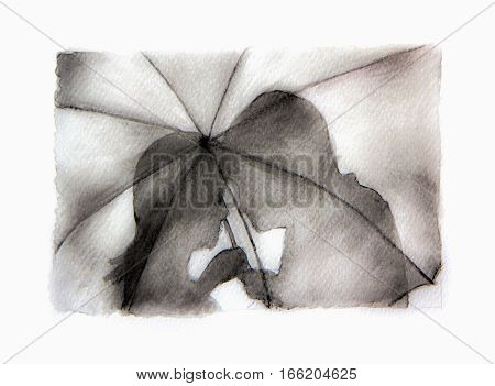 Romantic couple silhouette. Lovers woman and man kissing under umbrella - Watercolor drawing