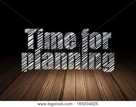 Time concept: Glowing text Time for Planning in grunge dark room with Wooden Floor, black background
