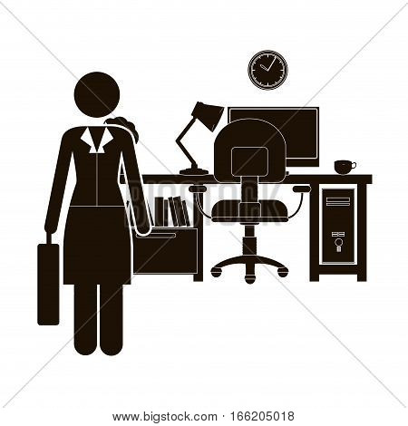 black silhouette woman administrator in office vector illustration