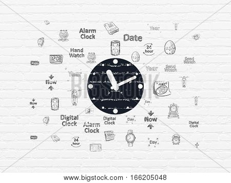 Timeline concept: Painted black Clock icon on White Brick wall background with  Hand Drawing Time Icons