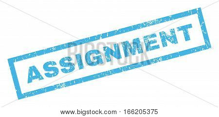 Assignment text rubber seal stamp watermark. Tag inside rectangular shape with grunge design and unclean texture. Inclined vector blue ink sticker on a white background.