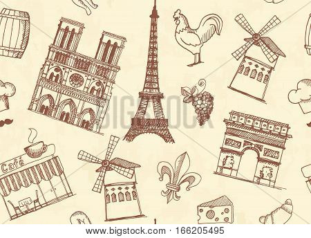Seamless pattern with sketches traditional symbols of the French architecture, culture, kitchen