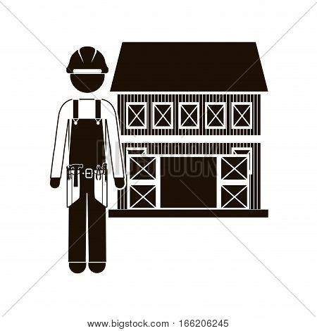 black silhouette builder with helmet and house vector illustration