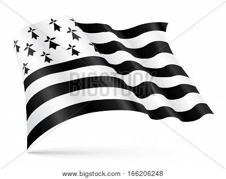 Vector Gwen-ha-Du black and white flag of Brittany waving on wind