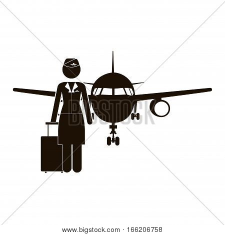 black silhouette flight attendant and aeroplane vector illustration