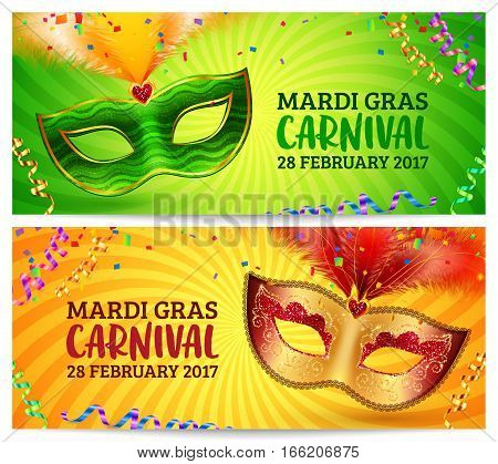 Green and orange carnival masks vector Mardi Gras invitation flyers templates set