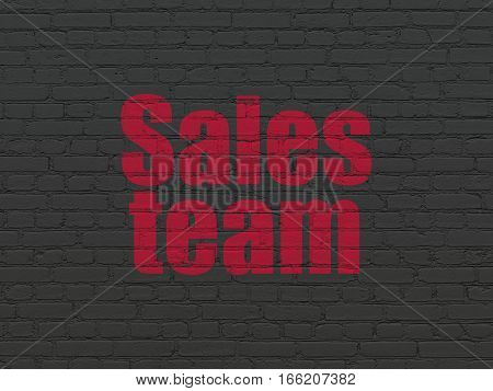 Marketing concept: Painted red text Sales Team on Black Brick wall background