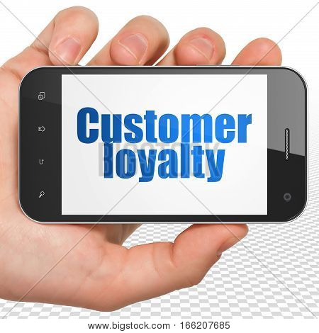 Advertising concept: Hand Holding Smartphone with blue text Customer Loyalty on display, 3D rendering