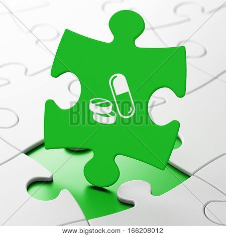 Health concept: Pills on Green puzzle pieces background, 3D rendering