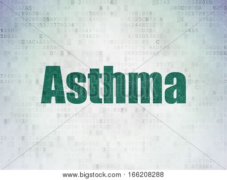 Medicine concept: Painted green word Asthma on Digital Data Paper background
