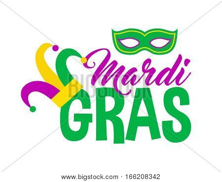 Bright abstract mardi gras lettering on white background. Vector illustration for holiday design. Carnival festival colorful bead icon logo. Light yellow, green, purple color.