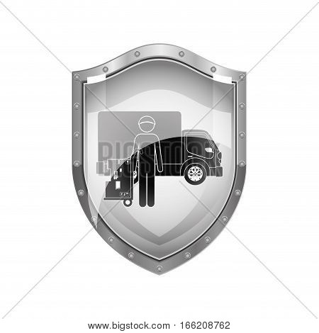 metallic shield of logistic assistant with shipping truck vector illustration