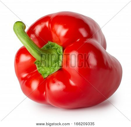 Red bell peppers shot at an angle isolated on white background