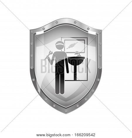 metallic shield of plumber with spanner in bathroom vector illustration