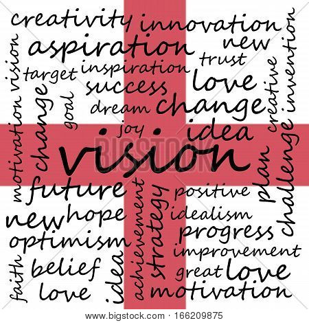 Conceptual Illustration of Tag Cloud With Words Related To Vision Creativity And Optimism England Flag Background