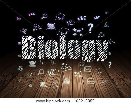 Learning concept: Glowing text Biology,  Hand Drawn Education Icons in grunge dark room with Wooden Floor, black background