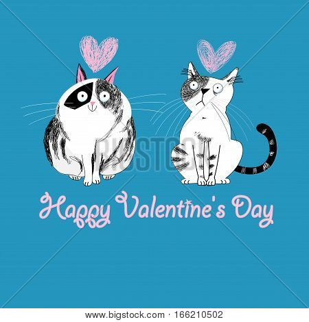 Cats in love graphic on a blue background with hearts