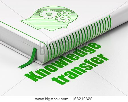 Learning concept: closed book with Green Head With Gears icon and text Knowledge Transfer on floor, white background, 3D rendering