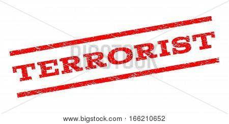 Terrorist watermark stamp. Text caption between parallel lines with grunge design style. Rubber seal stamp with unclean texture. Vector red color ink imprint on a white background.