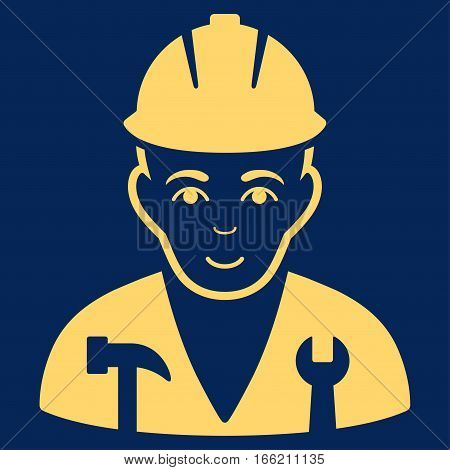 Serviceman vector icon. Flat yellow symbol. Pictogram is isolated on a blue background. Designed for web and software interfaces.