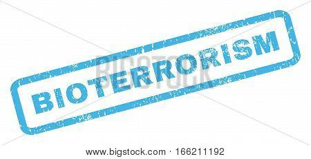 Bioterrorism text rubber seal stamp watermark. Tag inside rectangular banner with grunge design and scratched texture. Inclined vector blue ink sign on a white background.