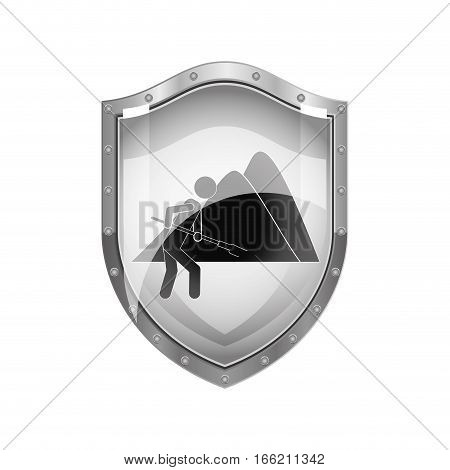 metallic shield of farmer with mattock in the mountain vector illustration