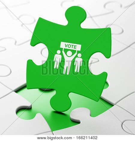Politics concept: Election Campaign on Green puzzle pieces background, 3D rendering