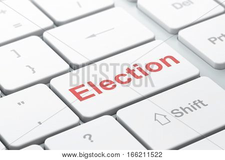 Political concept: computer keyboard with word Election, selected focus on enter button background, 3D rendering