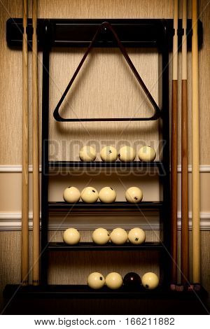 Stand with equipment for russian billiards, vignette