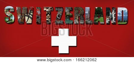 Collage of assorted Switzerland images on Swiss flag background