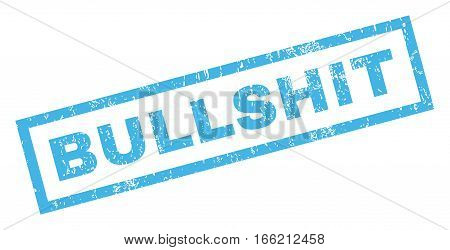 Bullshit text rubber seal stamp watermark. Tag inside rectangular shape with grunge design and unclean texture. Inclined vector blue ink sign on a white background.