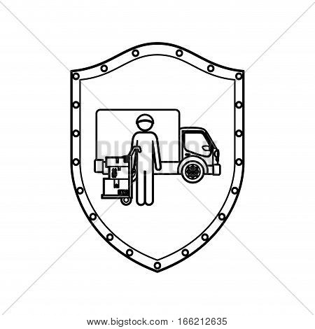 contour shield with logistic assistant with shipping truck vector illustration