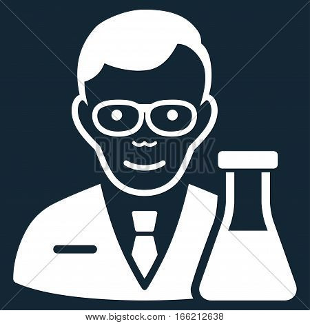 Chemist vector icon. Flat white symbol. Pictogram is isolated on a dark blue background. Designed for web and software interfaces.