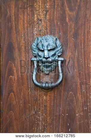 ancient door knoker with lion in Italy