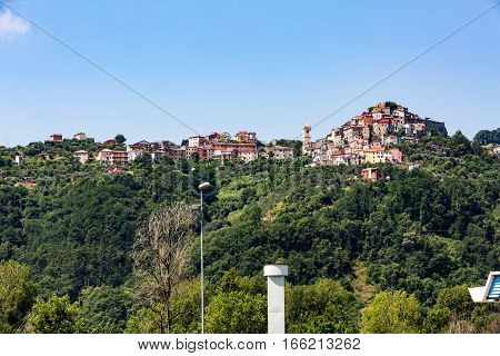VEZZANO LIGURE ITALY - JULY 9 2016: View of the village Vezzano Ligure from the motorway E80 in Santo Stefano di Magra near La Spezia on July 9 2016. Its a comune in the Province of La Spezia.