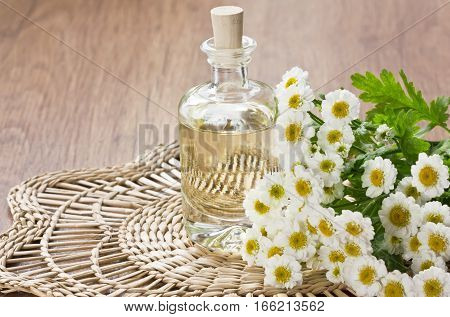 Essential aroma oil with chamomile flower for aromatherapy spa massage on bamboo mat