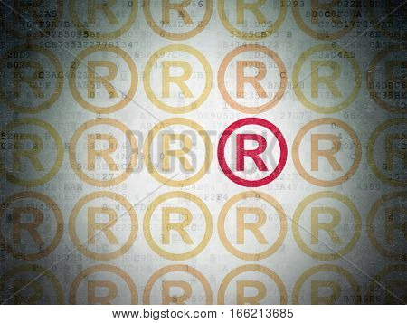 Law concept: rows of Painted yellow registered icons around red registered icon on Digital Data Paper background
