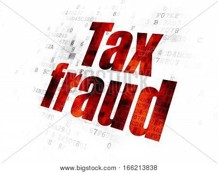 Law concept: Pixelated red text Tax Fraud on Digital background