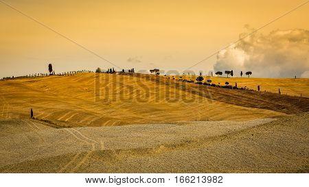 View Of Empty Plowed Fields In The Tuscan Region San Quirico D Orcia In Italy