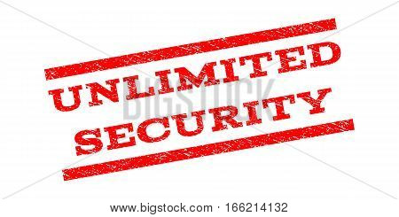 Unlimited Security watermark stamp. Text tag between parallel lines with grunge design style. Rubber seal stamp with unclean texture. Vector red color ink imprint on a white background.