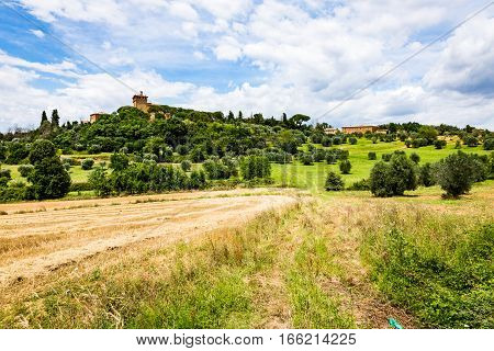 View Of The Palazzo Massaini In Pienza In The Tuscan Region Of Siena